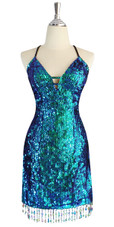 A short handmade sequin dress, in 8mm cupped iridescent green sequins front view