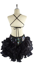 A short handmade sequin dress, in 10mm flat iridescent dark sequins with a black ruffled organza skirt back view