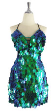 A short handmade sequin dress, in 30mm cut-out iridescent emerald green paillette sequins front view