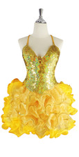A short handmade sequin dress, in 10mm flat hologram gold sequins with a yellow ruffled organza skirt front view