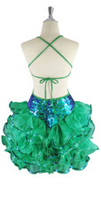 A short handmade sequin dress, in 10mm iridescent green fishscale sequins back view