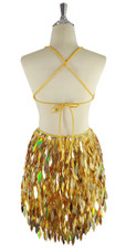 A short handmade sequin dress, with 10mm flat gold sequins with faceted silver beads back view