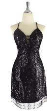 A short handmade sequin dress, in 8mm flat iridescent black sequins front view