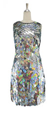A short handmade sequin dress, in 30mm hologram silver paillette sequins with silver faceted beads front view
