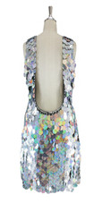 A short handmade sequin dress, in 30mm hologram silver paillette sequins with silver faceted beads back view