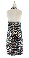 A short handmade sequin dress, in 30mm mixed black and metallic silver paillette sequins back view