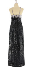 A long handmade sequin dress, in silver and black 8mm cupped metallic sequins back view