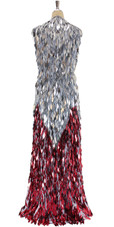 A long handmade sequin dress, in silver and red diamond shaped paillette hanging sequins with sweetheart neckline back view