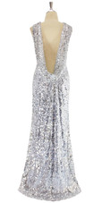 A silver sequin ULTIMATE fabric dress with elegant cowl back, back view