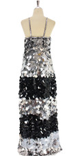A long handmade sequin dress, in 30mm flat jumbo black and silver sequins back view