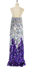A long handmade sequin dress, in diamond shaped paillette sequins of purple and iridescent silver back view