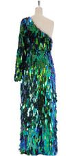A long handmade sequin dress, in rectangular paillette metallic iridescent green sequins back view
