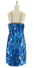 A short handmade sequin dress, in rectangular hologram blue paillette sequins with silver faceted beads back view.