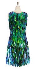 A short handmade sequin dress, in rectangular iridescent green paillette sequins with silver faceted beads back view