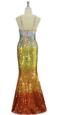 A long handmade sequin dress, in 10mm flat hologram silver, light gold, old gold and copper sequins back view