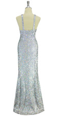 A long handmade sequin dress, in 8mm cupped hologramsilver sequins over white base fabric in a classic flared hemline cut back view