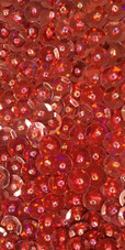 A long handmade sequin dress, in 8mm cupped metallic red sequins close up view