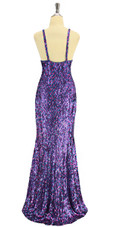 A long handmade sequin dress, in 8mm cupped hologram purple and fuchsia sequins back view