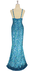 A long handmade sequin dress, in 8mm cupped hologam turquoise and silver sequins back view