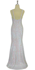 A long handmade sequin dress, in 8mm cupped iridescent transparent sequins back view