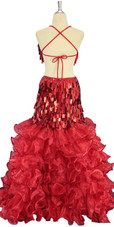 A long handmade sequin dress, in metallic red rectangular paillette sequins back view