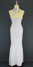 A Long Handmade Sequin Dress, In 8mm Cupped White Transparent Sequins back view