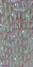 A Long Handmade Sequin Dress, In 8mm Cupped White Transparent Sequins close up view
