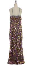 A long handmade sequin dress, in 20mm metallic purple and gold paillette sequins with silver faceted beads  back view