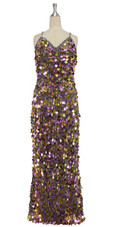 A long handmade sequin dress, in 20mm metallic purple and gold paillette sequins with silver faceted beads  front view