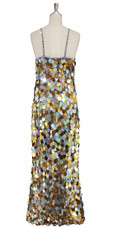 A long handmade sequin dress, in 30mm hologram silver  and gold mixed paillette sequins with silver faceted beads back view