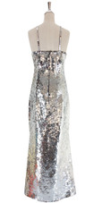 A long handmade sequin dress, in 10mm fishscale metallic silver sequins back view