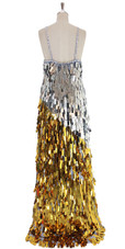 A long handmade sequin dress, in rectangular paillette metallic silver and gold sequins back view