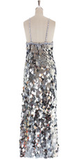 A long handmade sequin dress, in paillette metallic silver sequins back view