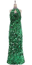 A long handmade sequin dress, in paillette emerald green sequins front view