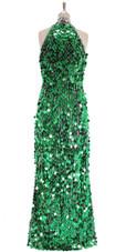 A long handmade sequin dress, in paillette emerald green sequins back view