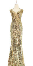 Long Gold baroque sequin fabric dress front view.