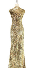 Long Gold baroque sequin fabric dress back view.