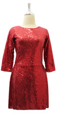 Short Red Sequin Fabric Dress With Long Sleeves Front View