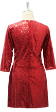 Short Red Sequin Fabric Dress With Long Sleeves Back View