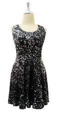 Short Black Sequin Fabric Dress Front View