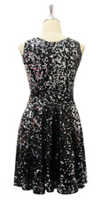 Short Black Sequin Fabric Dress Back View