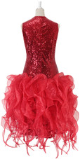 Short Red Sequin Fabric Dress With Red Strips Ruffle Skirt Back  View