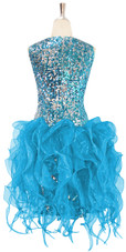 Short Turquoise Sequin Fabric Dress With Turquoise Strips Ruffle Skirt Back View