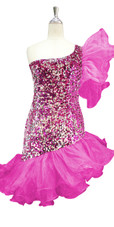 Short Pink And Silver Sequin Fabric Dress With One Shoulder  Pink Ruffle Skirt