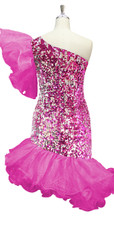 Short Pink And Silver Sequin Fabric Dress With One Shoulder And Pink Ruffle Skirt  Back View