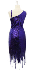 Short Dark Purple Sequin Fabric Dress With Jagged Beaded Hemline Back View
