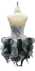Short Silver Sequin Fabric Dress With Black And Grey Strips Ruffle Skirt Back View