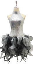 Short Silver Sequin Fabric Dress With Black And Grey Strips Ruffle Skirt