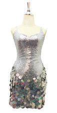 Short Silver Sequin Fabric Dress With Handmade Silver Hologram Sequin Skirt