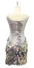 Short Silver Sequin Fabric Dress With Handmade Silver Hologram Sequin Skirt Back View